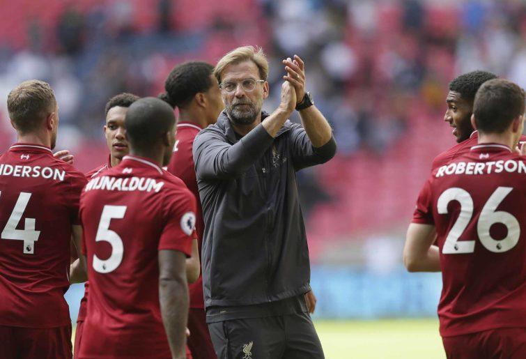 Liverpool coach Jurgen Klopp with his troops