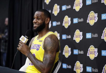 af8372e3bb8 Los Angeles Lakers  LeBron James fields questions during media day at the NBA  basketball team s practice facility Monday