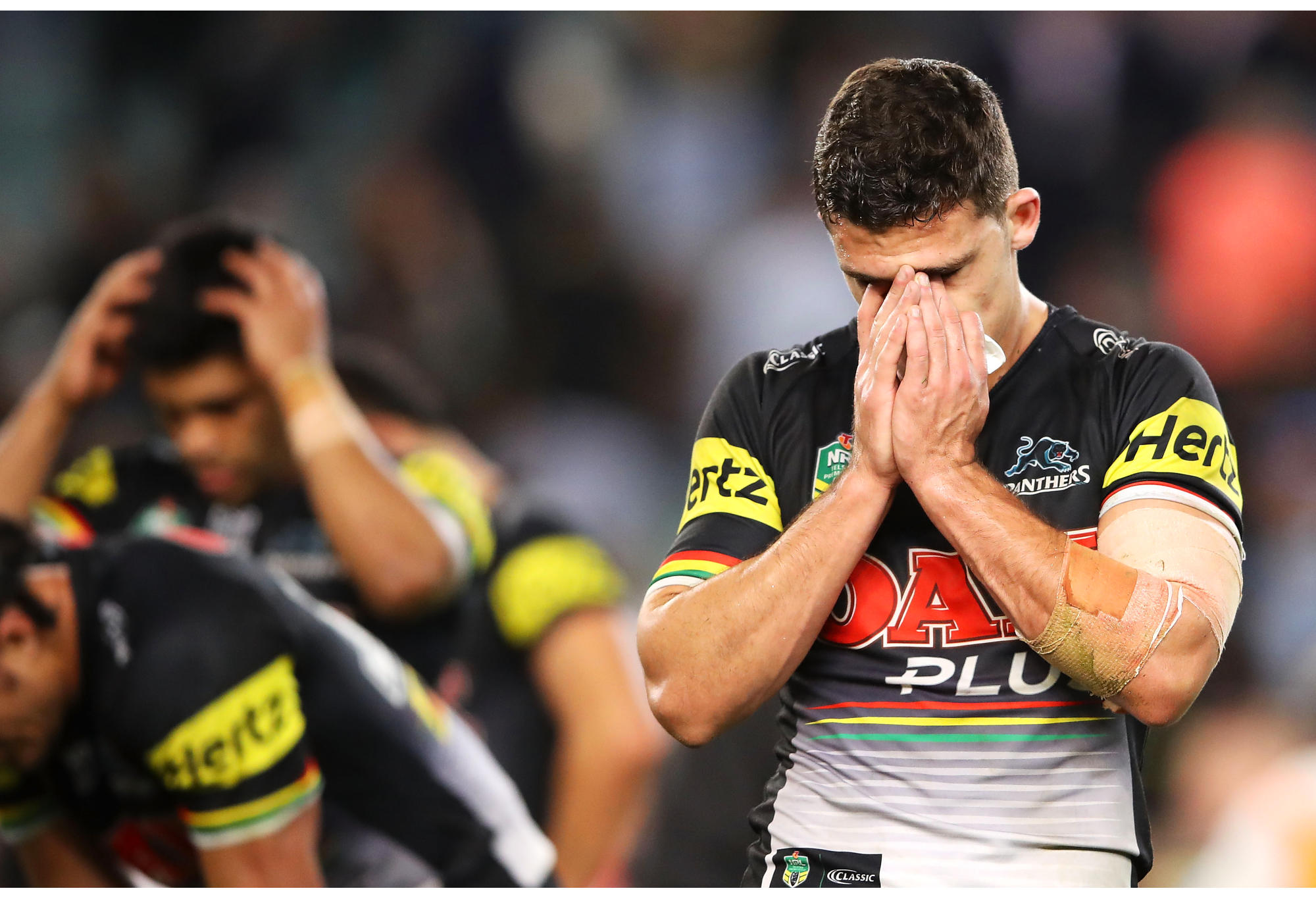 Nathan Cleary of the Panthers looks dejected after a semi-final loss to the Cronulla Sharks.