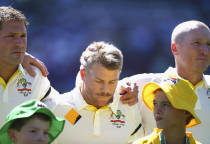 Ryan Harris, David Warner and Brad Haddin of Australia react during the tribute to Phillip Hughes