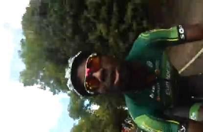 Tour de France rider picks up fans' GoPro mid-race