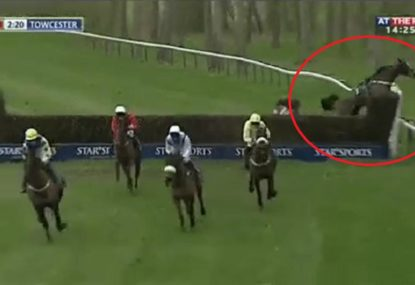 Chaos as horse jumps the fence and BOLTS mid-race