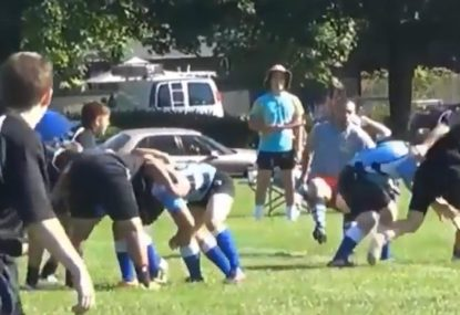 Rugby referee gets knocked over in lead up to soccer-like try