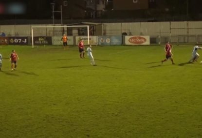 Persistent striker fights through 3-on-1 to win spot kick