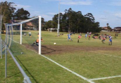 Striker sinks slicing half volley at full speed