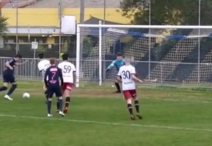 Footballer recovers perfectly from deflection to sink rebound