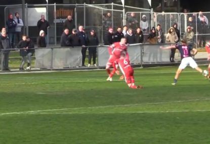Amateur footballer's SHOCKING untouched dive somehow earns injury time equaliser