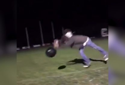 Bloke hilariously axes himself trying to drop punt medicine ball