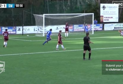 Beautiful cross gets nudged in behind the keeper