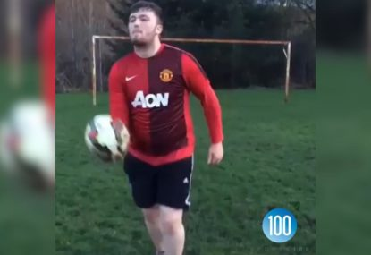 Bloke attempts to recreate Rooney's bicycle kick... fails miserably!