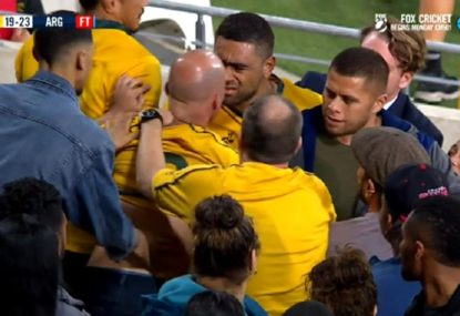 Ugly scenes as fan gets into a scuffle with Lukhan Tui
