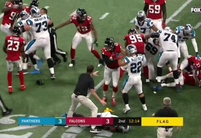 Tempers flare after Falcons safety lines up Cam Newton with late hit