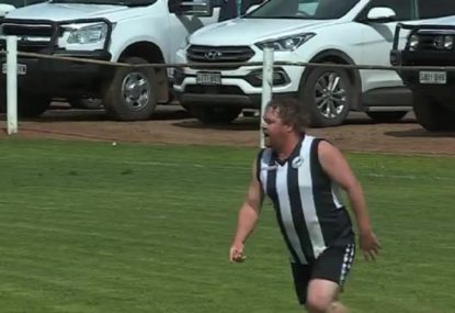 Local footy player sells candy twice for an all-time great snag