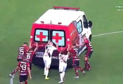 Farcical situation sees ambulance stall after player knocked out