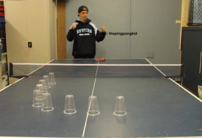 Ridiculous double-layered ping pong trick shot