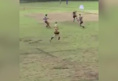Mates on the sideline lose it over fullbacks ankle-breaker