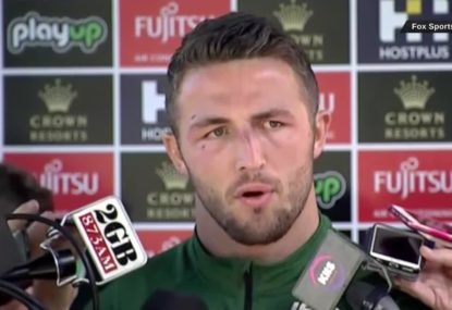 Sam Burgess fronts the media but refuses to answer questions on sexting scandal