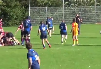 Halfback literally THROWS himself at charge down... and scores!