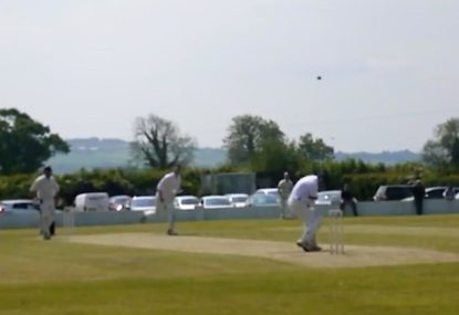 Vicious delivery shoots up and hits batsman for strangest caught behind ever