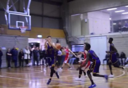 Clutch steal opens up powerful one-handed dunk!