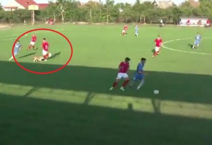 Dog hilariously tackles behind play in fourth-division Romanian match