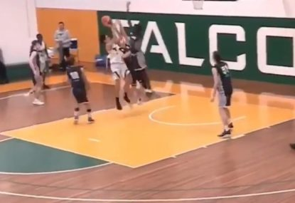 Basketball savagely gets swatted out of the sky in dominant moment