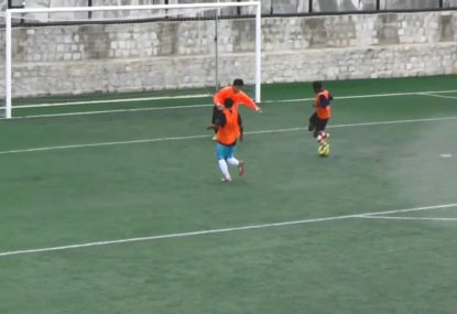Striker humiliates keeper with the most ludicrous back heel goal