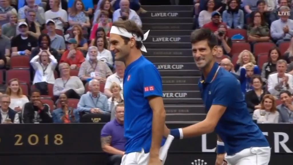 Djokovic hits Federer right on the buttocks!