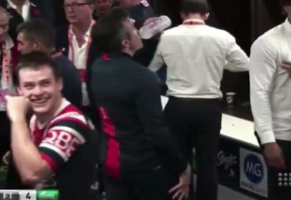 Luke Keary can't stop laughing after getting caught flipping the bird