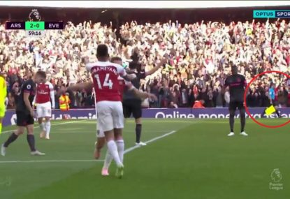 Did this linesman celebrate Arsenal's blatantly offside goal?