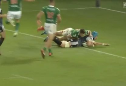 Welsh flanker's epic chip 'n' chase try