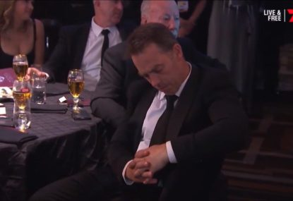 Clarko has a senior's moment during Tom Mitchell's Brownlow speech