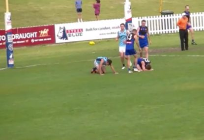 Local footballer gets absolutely crunched running back with the flight