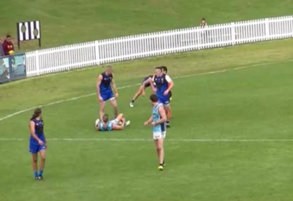 Local footy player gets free kick reversed with classic brain fade