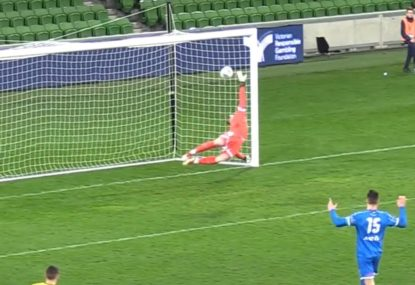 Jaw-dropping worldie defies leaping keeper
