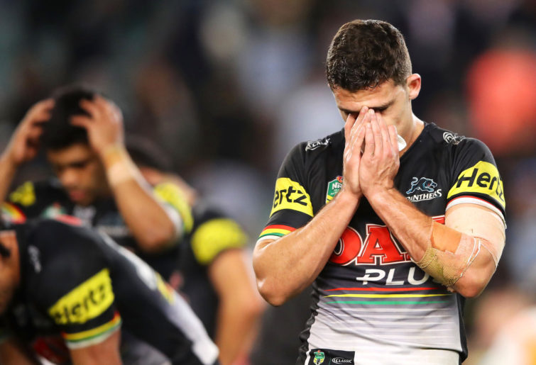 Nathan Cleary reacts after a Panthers loss