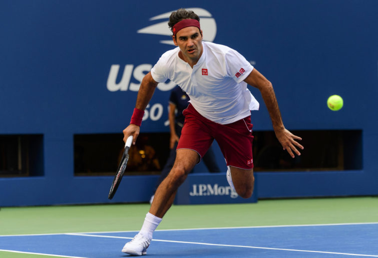 Roger Federer in action at the US Open
