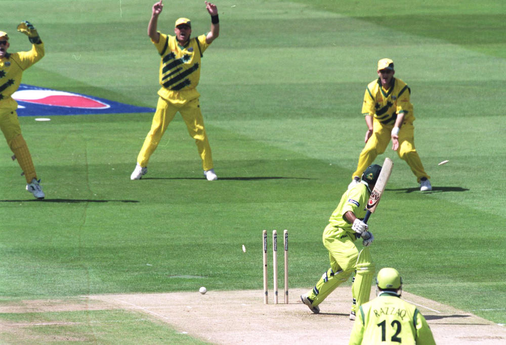 Saeed Anwar looks back at his wicket as he is bowled