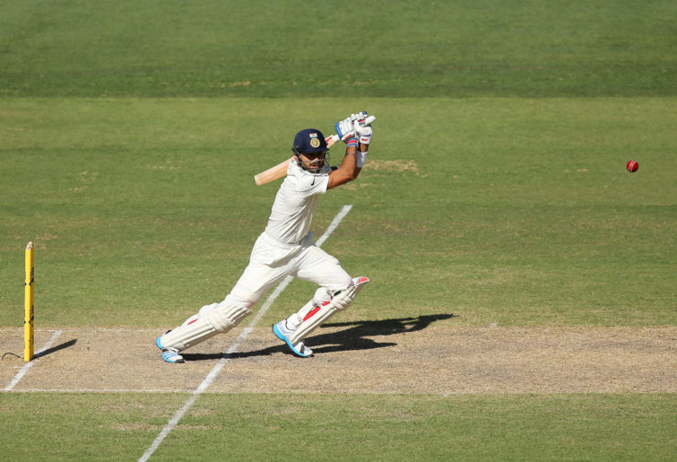 Virat Kohli plays a cover drive