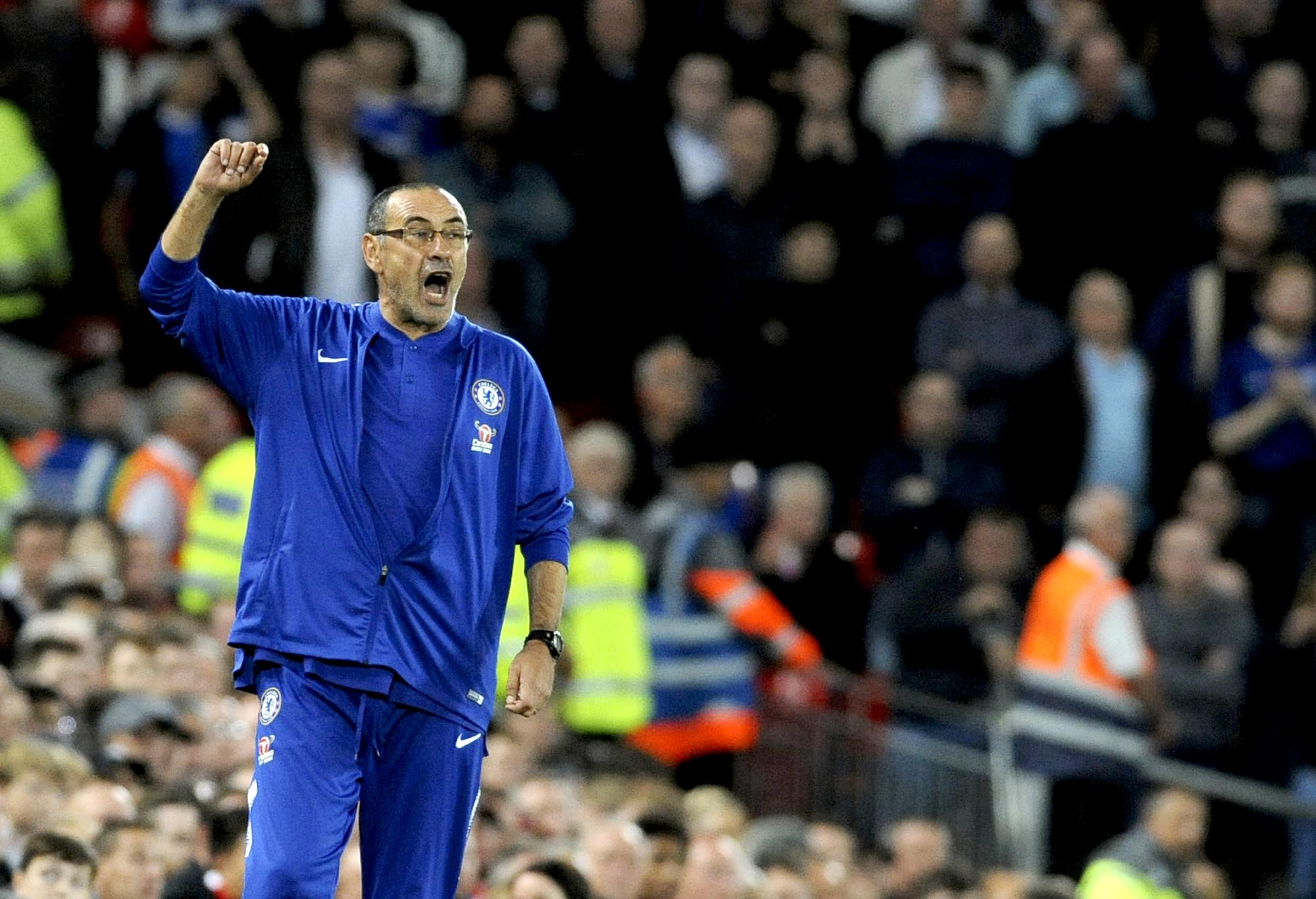 Chelsea manager Maurizio Sarri shouting from the sidelines.
