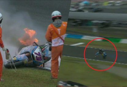Alex Marquez lucky to walk away from this horrifying crash in Japan