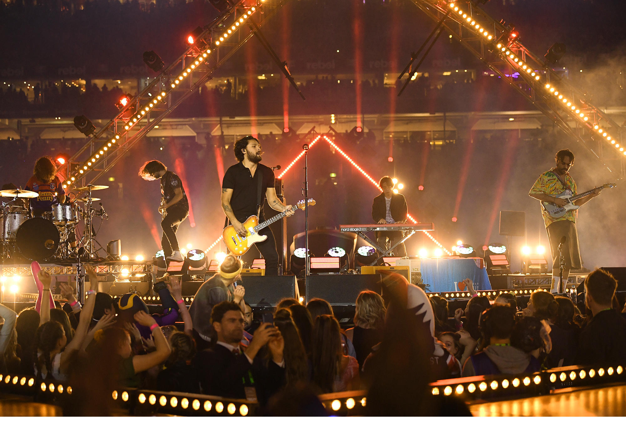 Gang of Youths performs at the 2018 NRL Grand Final.
