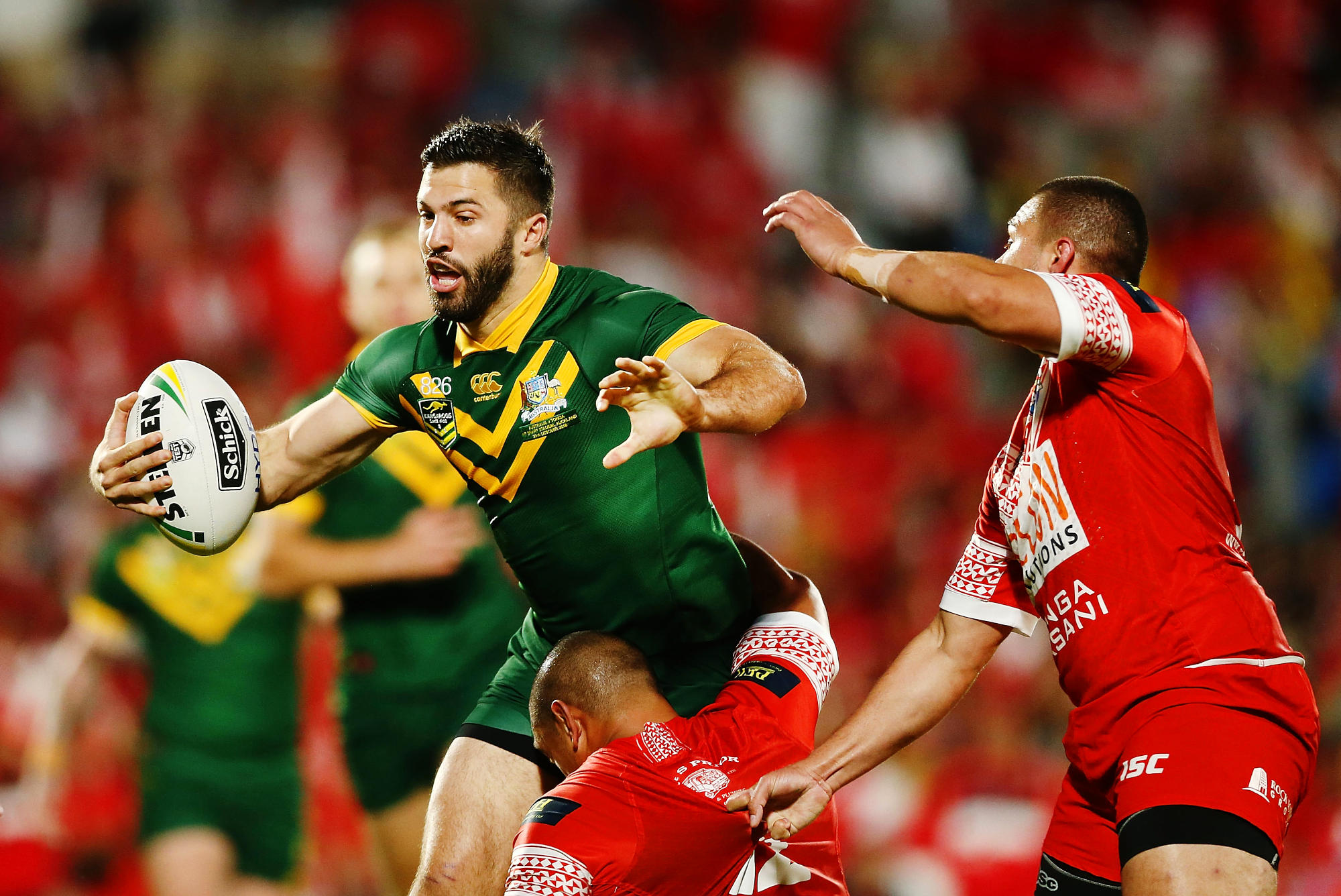 James Tedesco of Australia on the charge during the International Test match against Tonga.