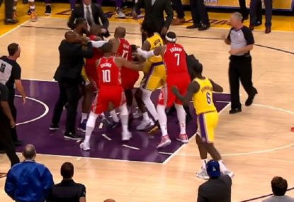 Punches thrown as brawl erupts between Lakers and Rockets