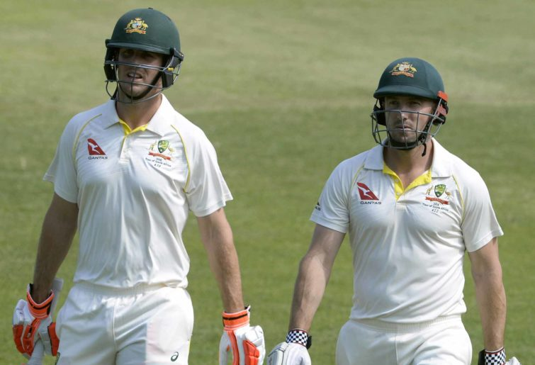 Mitch and Shaun Marsh leave the field