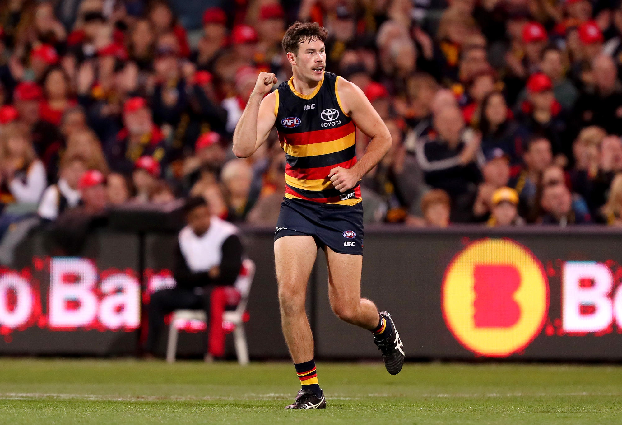 Mitch McGovern of the Crows celebrates a goal during the 2018 AFL round seven match between the Adelaide Crows and the Carlton Blues at Adelaide Oval on May 5, 2018 in Adelaide, Australia.