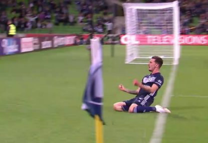 Melbourne Victory defender left to celebrate a goal by himself