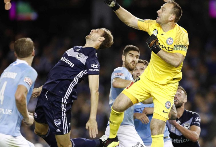 Action in the Melbourne derby
