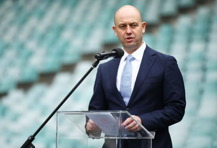 NRL CEO Todd Greenberg speaks during the 2018 NRL Finals Series Launch at Allianz Stadium on September 3, 2018 in Sydney, Australia.