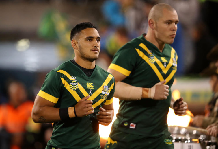 Valentine Holmes and David Klemmer of the Kangaroos runs out to the field before the ANZAC Test match between the Australian Kangaroos and the New Zealand.